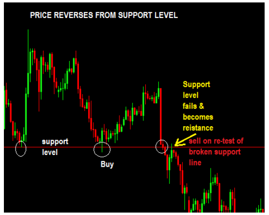 example of price reversing from a support level